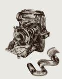 照相机草图向量 库存例证