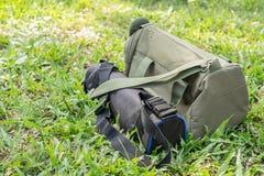 照相机袋子和三脚架袋子 免版税图库摄影