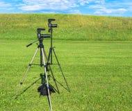 照相机被设置摄制表现 库存图片