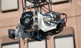 照相机起重机专业人员 库存照片