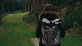 照相机跟随走户外在森林风景背景的少女徒步旅行者与在山的高大的树木 影视素材