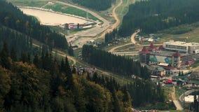 照相机采取喀尔巴阡山脉范围全景  影视素材
