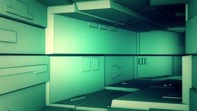 照相机飞行通过一个技术隧道 库存例证