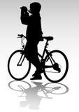照相机骑自行车者 免版税库存照片