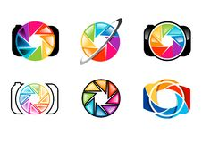 照相机,商标,透镜,开口,快门,彩虹, colorize,套摄影商标概念标志象传染媒介设计 免版税库存照片