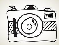 照相机-徒手画的剪影 库存例证