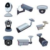 照相机copyspace大量证券 Cctv系统 向量例证