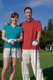 照相机vertictal高尔夫球运动员的微笑 图库摄影