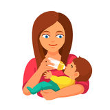 照顾有牛奶瓶的举行的和哺养的婴孩 免版税库存照片