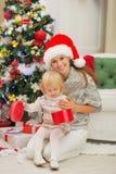 照顾藏品婴孩空缺数目圣诞节礼物配件箱 库存照片