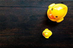 照顾鸭子和小鸭子在木背景的浴玩具 免版税库存图片