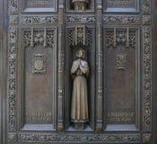 照顾Seton,外部Doorsof圣帕特里克` s大教堂 图库摄影
