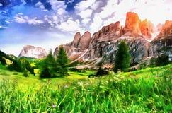 仿照水彩绘画样式的工作 美丽的景色o 库存图片
