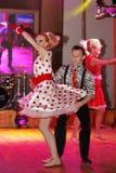 仿照60 ies -执行圣彼德堡音乐厅的马戏团的舞蹈家样式的编舞缩样 库存图片