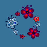 仿照boho花圈样式的无缝的样式与花 库存图片