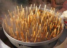 煮沸日本米的球 免版税库存照片