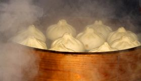 煮沸的中国汉堡包 库存图片