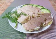 煮沸的冷猪肉 免版税库存照片