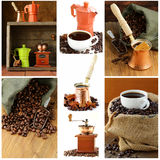 煮沸的咖啡的拼贴画不同的器物 库存图片