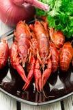 煮沸的小龙虾 woden背景 土气样式 红色煮沸了在黑长方形板材的小龙虾 库存图片