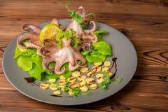 煮沸的整个章鱼服务与石灰、玉米、黄瓜和小树枝 库存照片