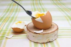 煮沸的新抽杀打破的鸡蛋在木桦树立场的早餐鸡蛋的 壳, bri残破的米黄鸡蛋和片断  库存照片