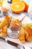 煮沸的早餐蛋软件 图库摄影