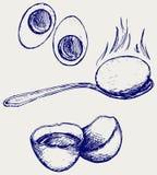 煮沸的早餐鸡蛋 免版税库存照片