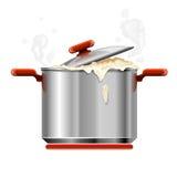 煮沸的查出的新的平底锅银碗筷向量 库存照片