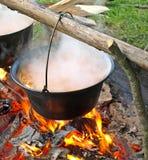 煮沸的汤 库存图片