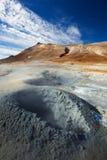 煮沸的泥在Namafjall地热地区, Hverir 免版税库存照片