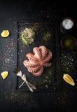 煮沸的章鱼用香料和柠檬 库存图片