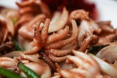 煮沸的章鱼 特写镜头照片 大下落绿色叶子宏观摄影水 食物概念背景 免版税库存图片