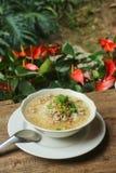 煮沸的米猪肉或软糊状食物-泰国样式早餐 免版税库存图片