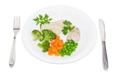 煮沸的肉和菜饮食盘  免版税图库摄影