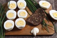 煮沸的蛋一半 免版税图库摄影