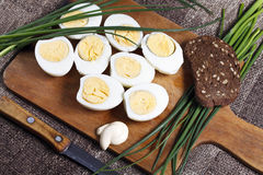 煮沸的蛋一半 图库摄影