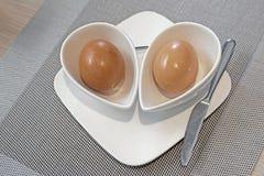 煮沸的蛋装煮好带壳蛋之小杯软件 免版税图库摄影