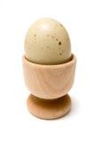 煮沸的蛋装煮好带壳蛋之小杯 免版税库存图片