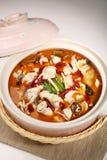 煮沸的鱼用泡菜和辣椒 库存图片