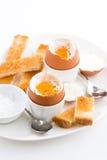 煮沸的鸡蛋和酥脆多士早餐,垂直 免版税图库摄影