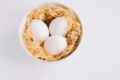 煮沸的鸡蛋板材  图库摄影