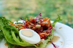 煮沸的鸡蛋用沙拉开胃菜 库存照片