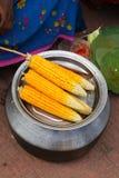 煮沸的黄色玉米 库存图片