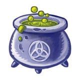 煮沸绿色液体不可思议的大锅  wicca 巫婆魔药 不可思议的酿造魔药为万圣节 库存例证