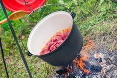 煮沸,热的菜炖牛肉汤用肉,辣椒粉,土豆,葱,红萝卜是匈牙利烹调传统盘  库存图片