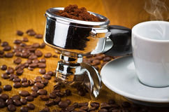 煮浓咖啡器社团领袖 库存照片