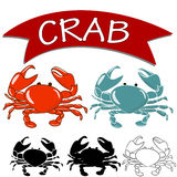 煮熟的在白色背景隔绝的螃蟹和活螃蟹 免版税库存图片
