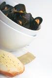 煮熟的淡菜 库存照片