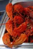 煮熟的红色小龙虾的部分紧密  免版税库存图片